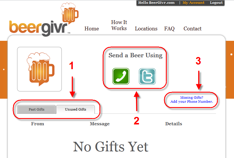 View past and unused gifts, send drinks over twitter/phone, and link your phone to a Twitter account