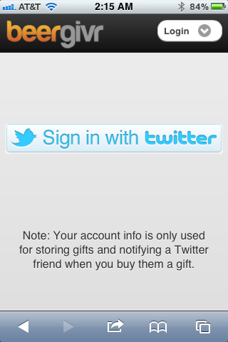 BeerGivr Mobile Twitter Sign-in
